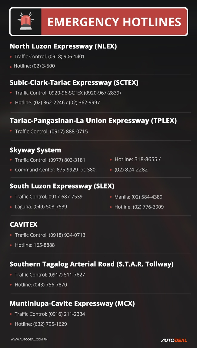 2018 expressway emergency hotlines in Philippines