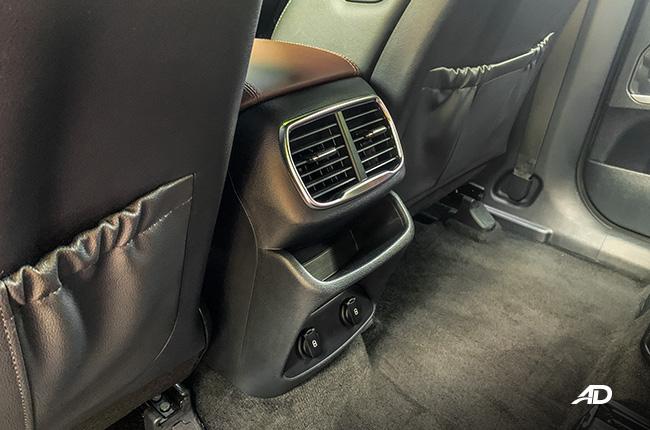 hyundai santa fe road test interior rear charging ports
