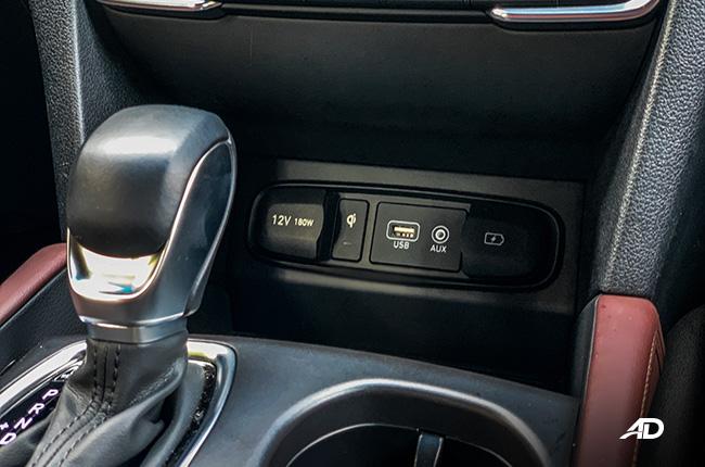 hyundai santa fe road test interior wireless charger