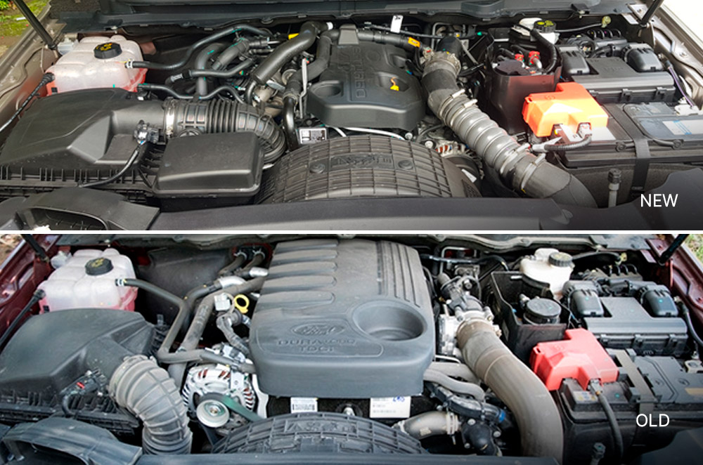 New and old Ford Everest engine