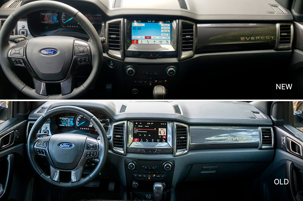 New and old Ford Everest interior