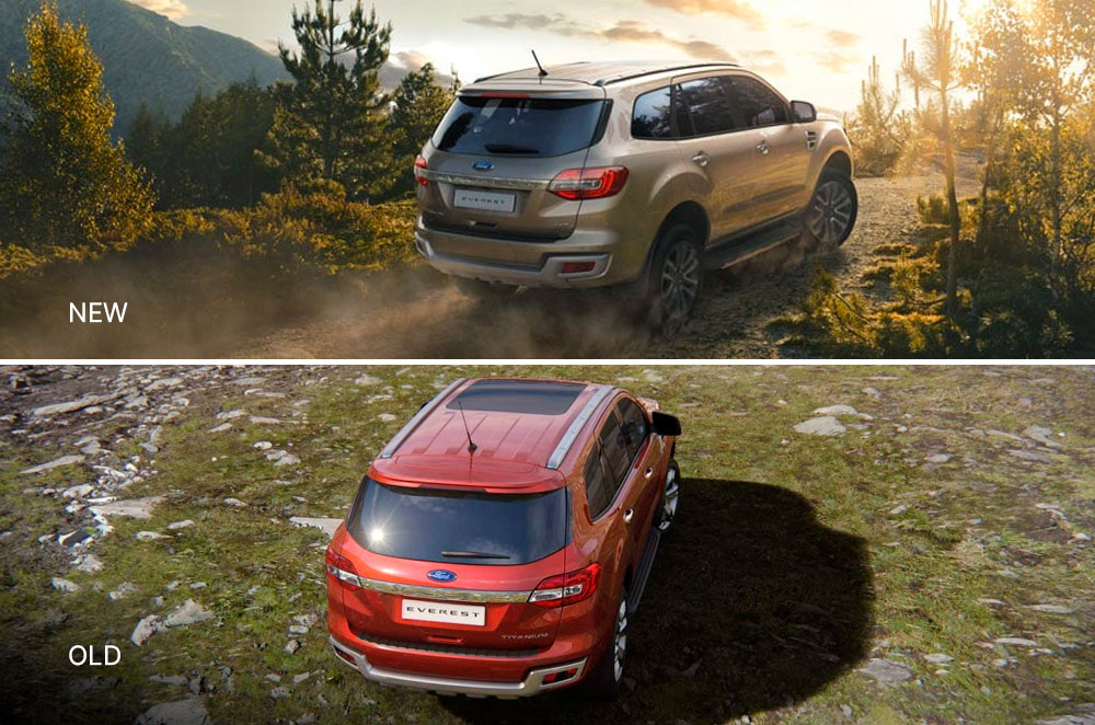 New and old Ford Everest rear