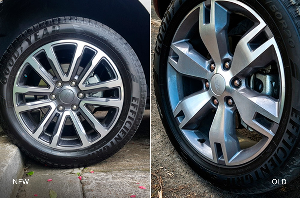New and old Ford Everest wheels