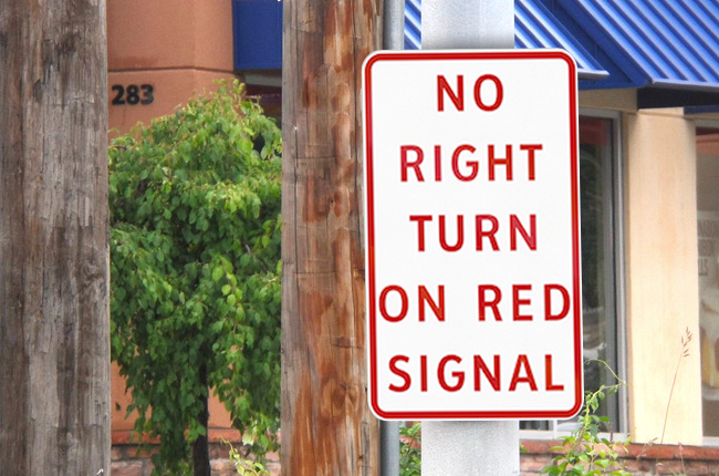 No right turn on red signal