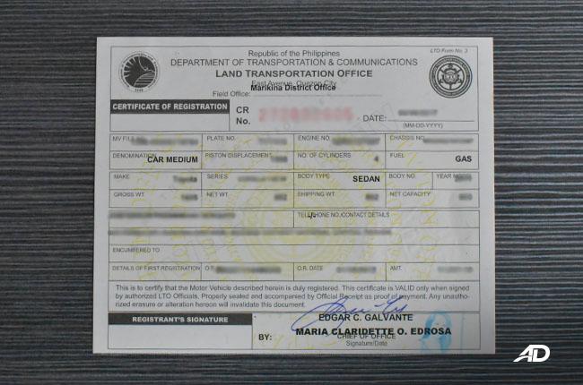 Phililppines LTO Certificate of registration