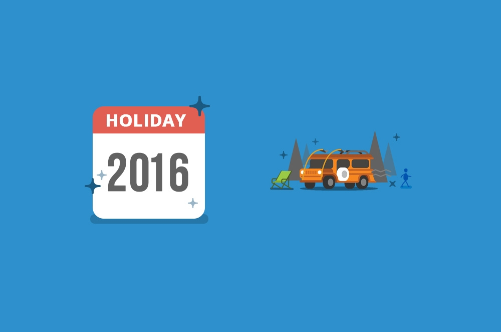 2016 Holiday list and the cars you can use for each