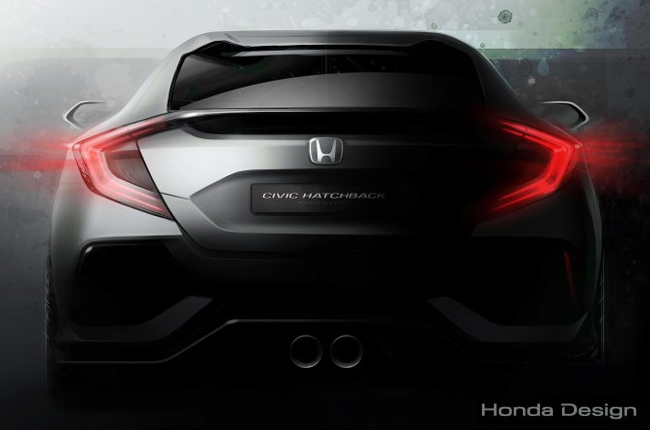 Honda unveils teaser of the Civic Hatchback Prototype
