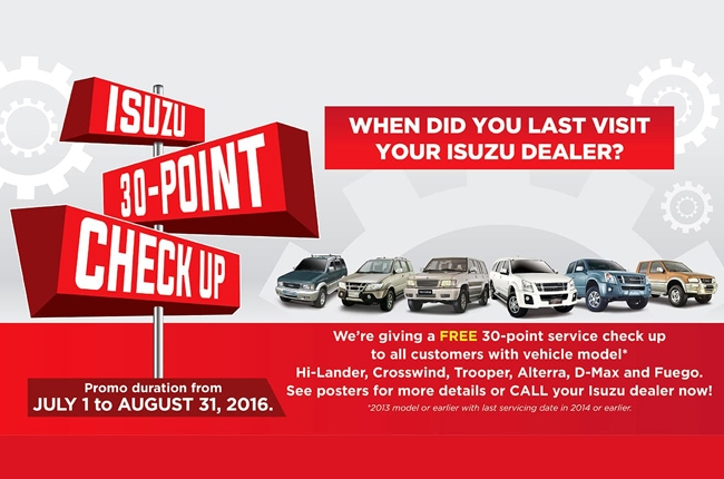 Isuzu PH offers free 30-point service check-up