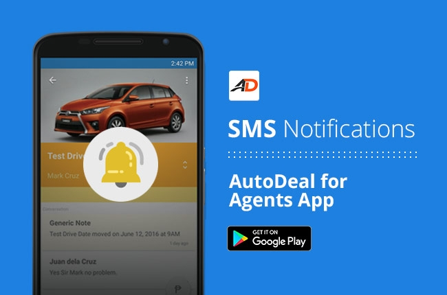 AutoDeal Launches SMS notifications for sales agents.