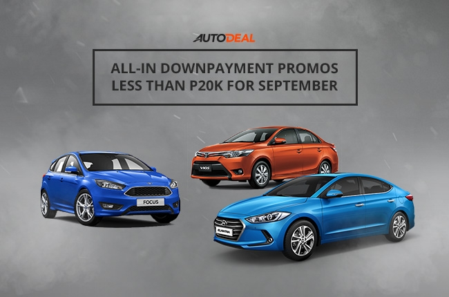 Best all-in downpayment promos under P20,000 for September 2016