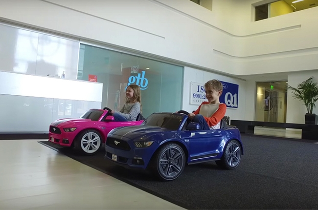 WATCH: 2 Ford Mustangs transform an office into a 'race track'