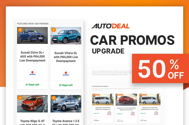 Use your AutoDeal Credits with 50% off on features