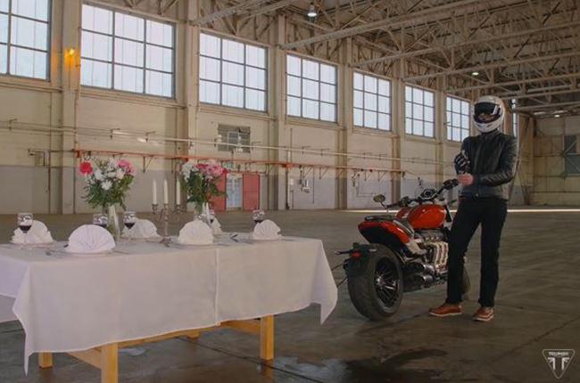Watch a Triumph Rocket 3 attempt the tablecloth trick