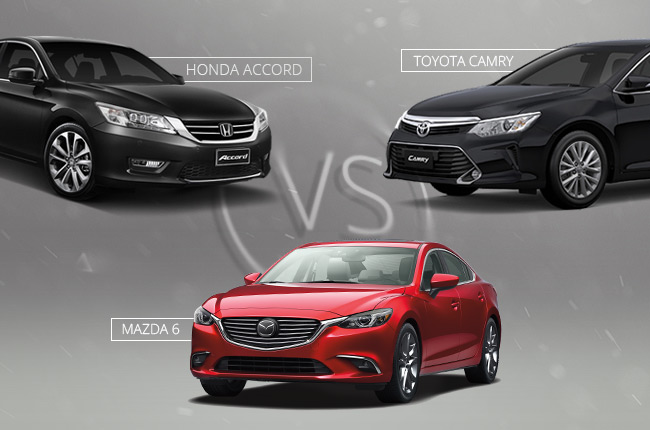 Car Comparo: 3-way battle between Mazda 6, Toyota Camry, and Honda Accord