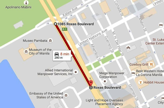 Roxas Blvd Kalaw To US Embassy Closed To Traffic Due To Bomb - Us embassy manila map