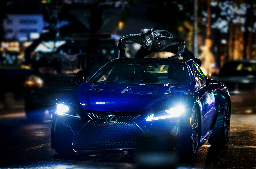 Black Panther on top of the Lexus LC 500