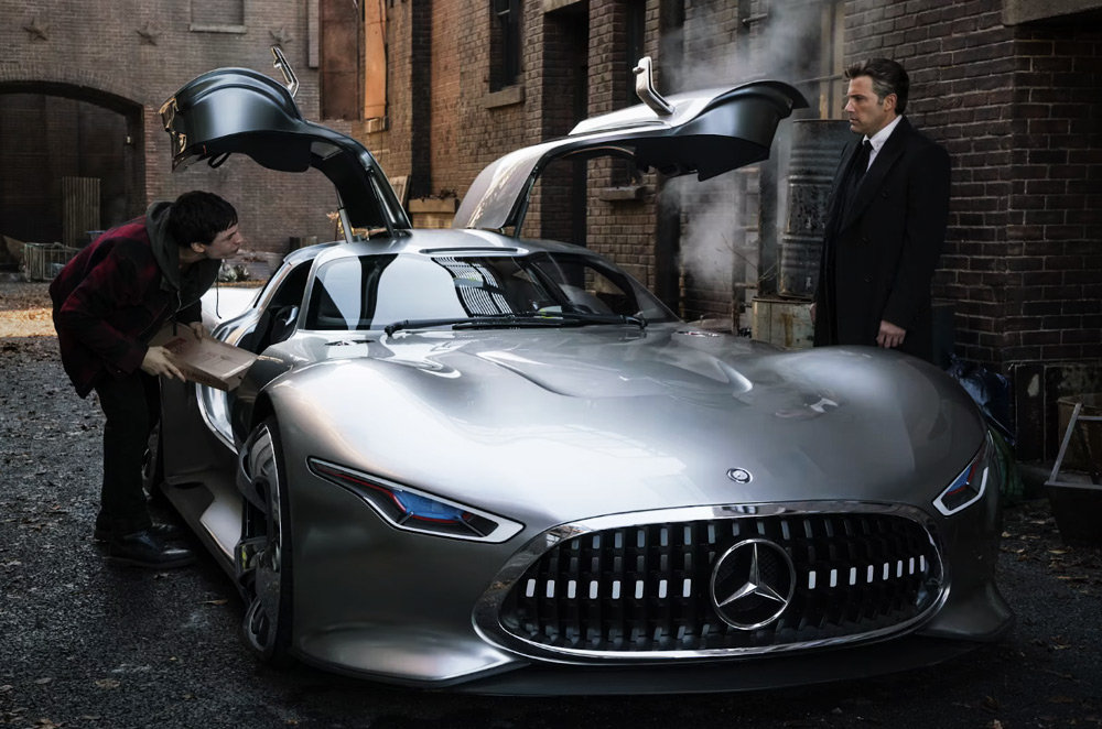 Bruce Wayne with Barry Allen on a Mercedes AMG Vision GT