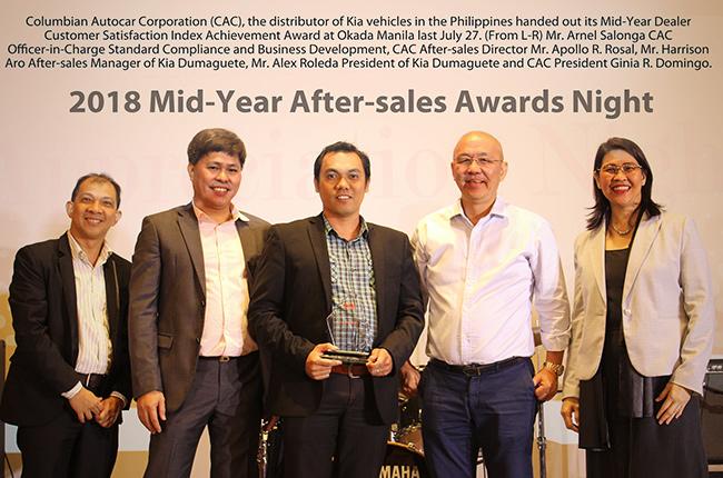 Kia Dumaguete awarded as Dealer Customer Satisfaction Index (DCSI) achiever