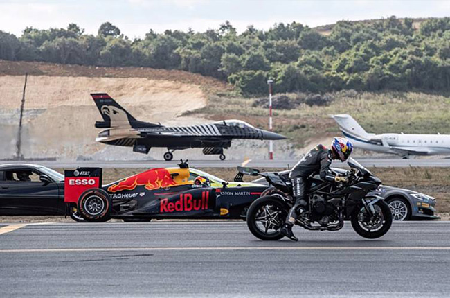 drag race airplane motorcycle