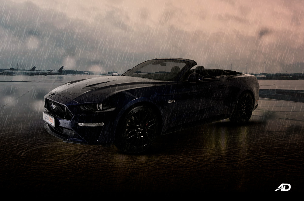 convertible in the rain