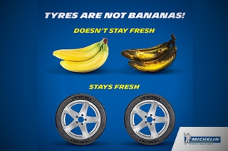 Michelin's Tires Are Not Banana campaign to bust tire age myth
