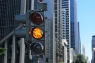 Yellow traffic light