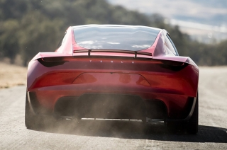 Rocket thrusters on Tesla Roadster
