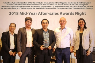 Kia Dumaguete awarded as Dealer Customer Satisfaction Index (DCSI) achiever