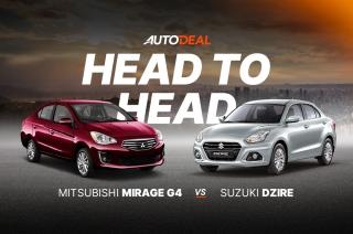 Head to head Mitsubishi Mirage G4 vs Suzuki Dzire