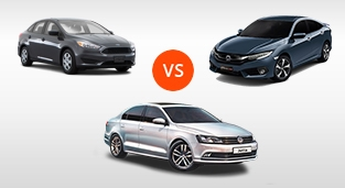 Ford Focus Sedan 1.5 EcoBoost Titanium+ vs. Honda Civic 1.5 RS Turbo vs. Volkswagen Jetta Business Edition+ TDI DSG