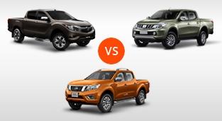 Mazda BT-50 2.2 4x2 AT vs. Nissan Navara 4x2 EL Calibre AT vs. Mitsubishi Strada 2.4 GLS 4x2 AT