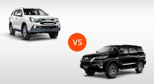 Isuzu mu-X 3.0 LS-A 4x4 AT Blue Power vs. Toyota Fortuner 2.8 V Diesel 4x4 AT