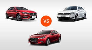 Mazda 3 Hatchback 1.5 SkyActiv V AT vs. Volkswagen Lavida 1.4 230 TSI Comfortline DSG vs. MG 6 Trophy AT