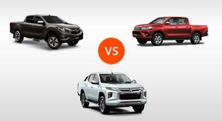 Mazda BT-50 2.2 4x2 AT vs. Toyota Hilux 2.4 G DSL 4x2 AT vs. Mitsubishi Strada GLS 4x2 AT