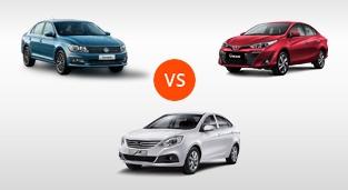 JAC J4 1.5 VVT CVT vs. Toyota Vios 1.3 E CVT vs. Volkswagen Santana 1.5 MPI S AT