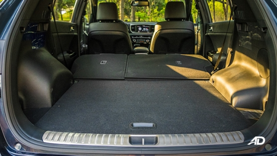 kia sportage review road test trunk cargo interior fold