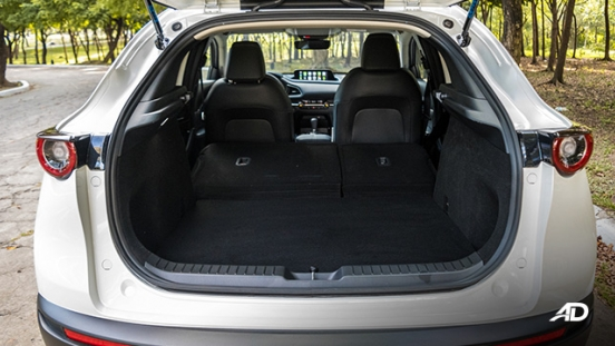 mazda cx-30 review road test trunk cargo seats folded interior