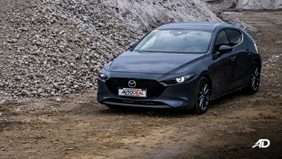 mazda3 sportback road test review polymetal gray front beauty shot exterior