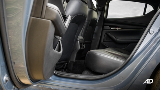 mazda3 sportback road test review polymetal gray rear legroom interior