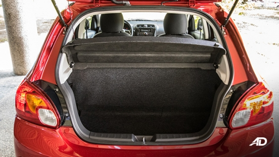 mitsubishi mirage road test trunk cargo interior