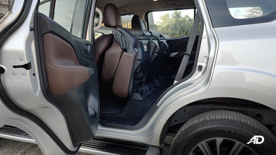 Nissan terra review road test second row ingress interior