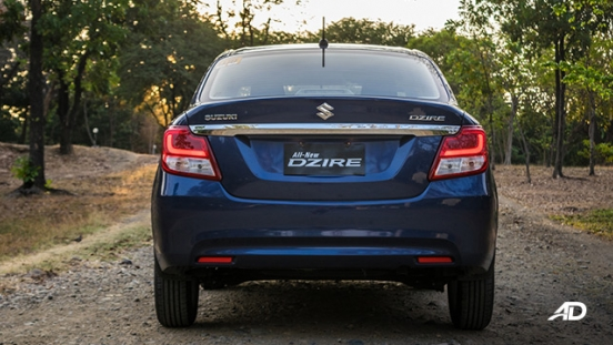 suzuki dzire review road test rear exterior