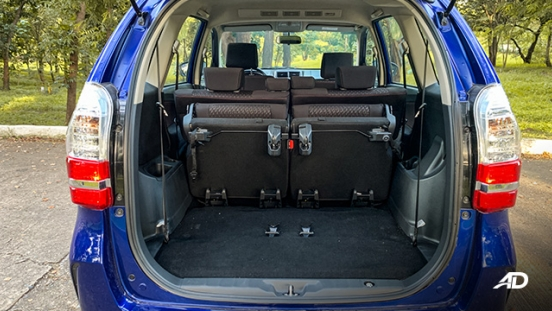 toyota avanza road test trunk cargo interior