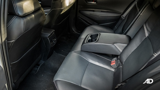 Toyota corolla altis hybrid review road test rear seats interior