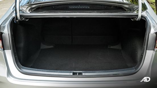 Toyota corolla altis hybrid review road test trunk cargo interior