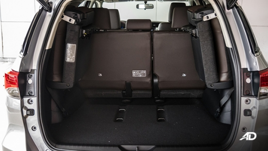 toyota fortuner road test cargo trunk interior