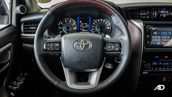 toyota fortuner road test steering wheel interior