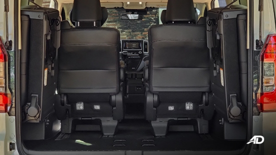 toyota hiace super grandia review road test trunk cargo seats folded interior