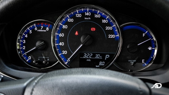 Toyota Vios 1.3 E Prime road test gauge cluster