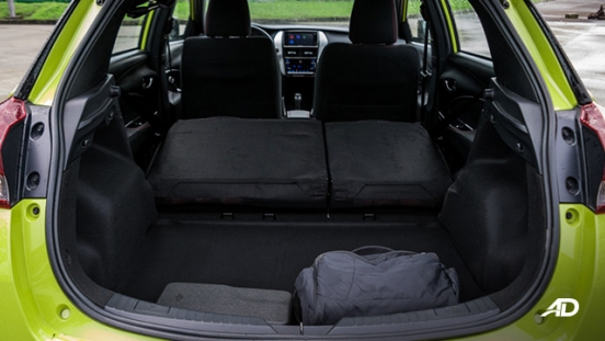 toyota yaris road test review trunk cargo folded interior